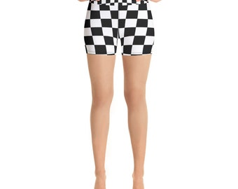 11ef246bd3de27 Black and White Checkered Women Biker Shorts/ Black and White Checkered  leggings/ Festival Biker Shorts/ Checkered Biker Shorts