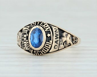 bf022668cd1 Eastern High School Class Ring - 10k Yellow Gold Size 5.25 Synthetic Blue  Spinel