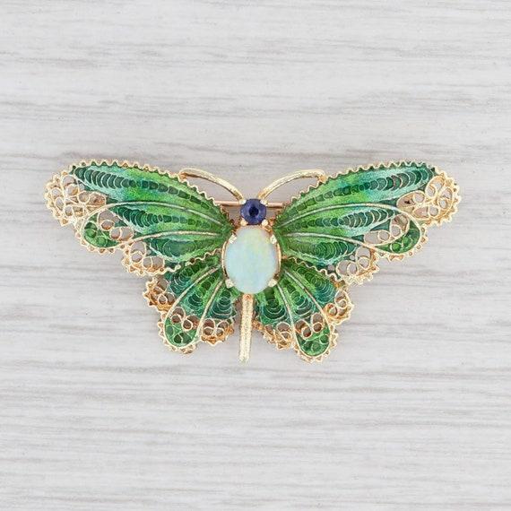 Opal Sapphire Butterfly Brooch 14k Yellow Gold Orn