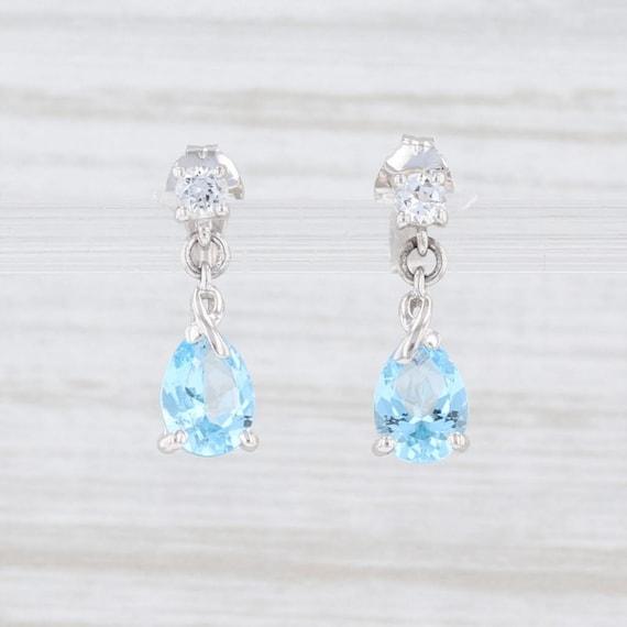 Blue Topaz Earrings, White Sapphire Earrings, Tear