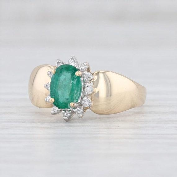 Emerald & Diamond Ring, Diamond Halo Ring, Yellow
