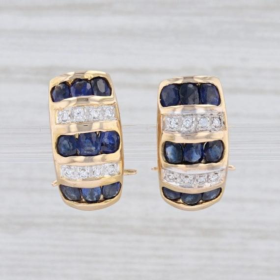 Sapphire Drop Earrings, CZ Earrings, Yellow Gold E