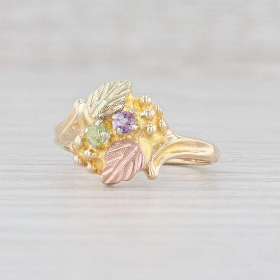 Size 7. FA1363 Vintage Sterling /& Black Hills Gold Floral Ring