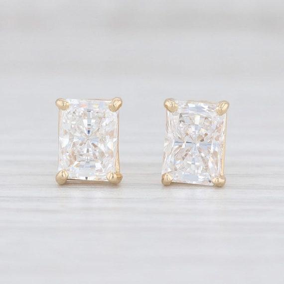 CZ Stud Earrings, Gold Earrings, Emerald Cut Studs