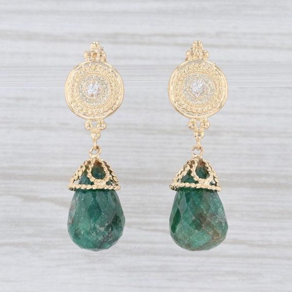 Ornate Earrings, Diamond Earrings, Green Stone Ear