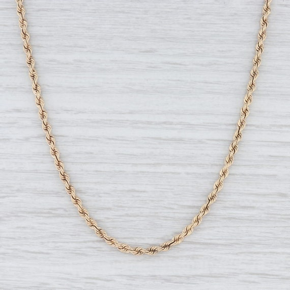 "Rope Chain Necklace, Yellow Gold Necklace, 18"" Cha"