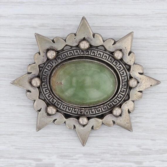 Vintage Brooch, Mexican Onyx Brooch, Green Onyx Br