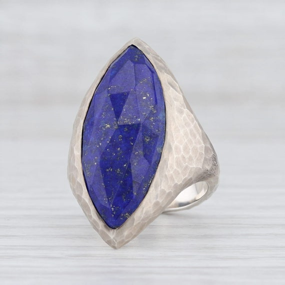 Lapis Lazuli Ring, Blue Stone Ring, Hammered Silve