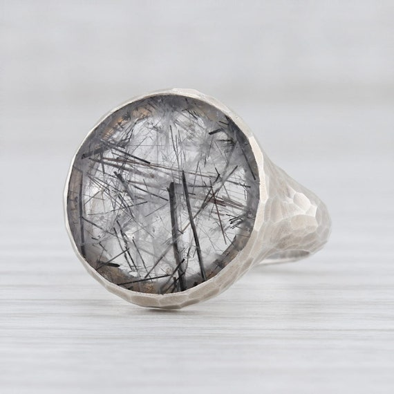Tourmalated Quartz Ring, Gemstone Statement Ring,