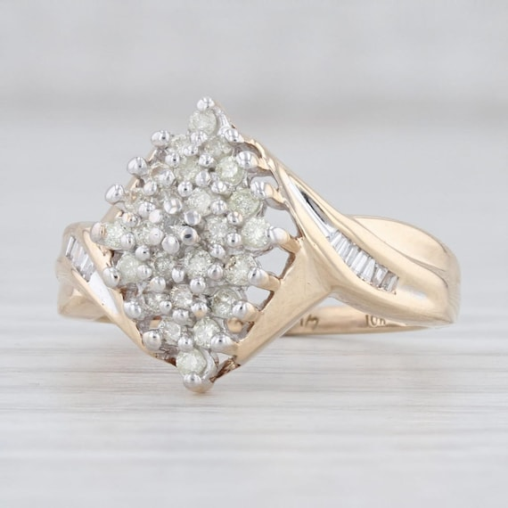 Diamond Cluster Ring, Yellow Gold Ring, Size 7.5 R