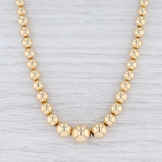 Graduated Bead Necklace, Gold Bead Necklace, State