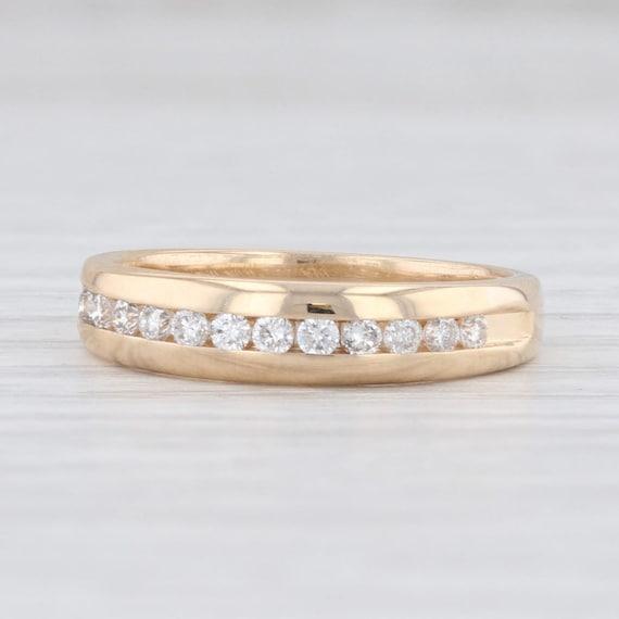 Diamond Wedding Band, Yellow Gold Ring, Size 5.25