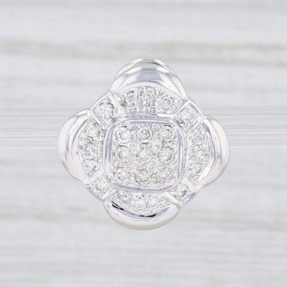 Single Earring, Diamond Flower Earring, White Gold