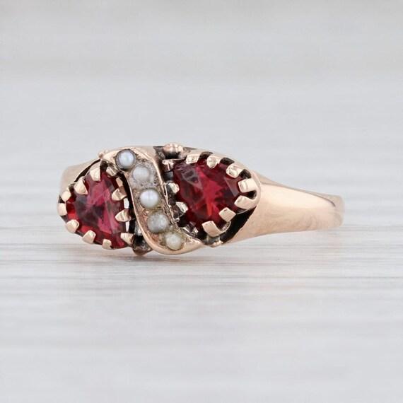 Victorian Garnet Ring, Pearl & Garnet Ring, Garnet