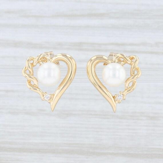Pearl & Diamond Earrings, Pearl Heart Earrings, Ye