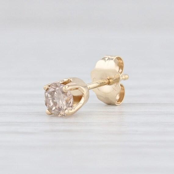 Champagne Diamond Earring, Single Stud Earring, Ye