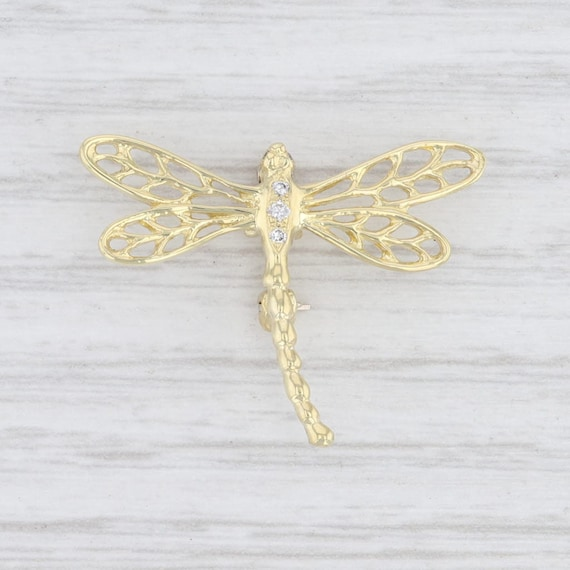 Diamond Brooch, Dragonfly Brooch, Yellow Gold Broo