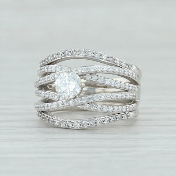 Diamond Cocktail Ring, White Gold Diamond Ring, Wh