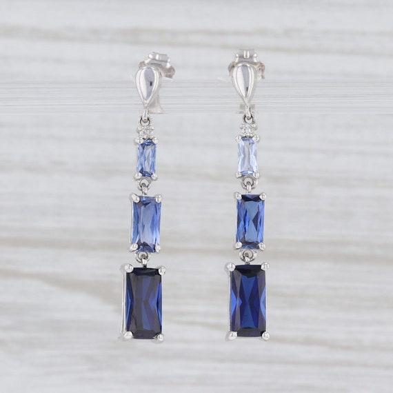 Blue Sapphire Earrings, Sapphire and Diamond Earri