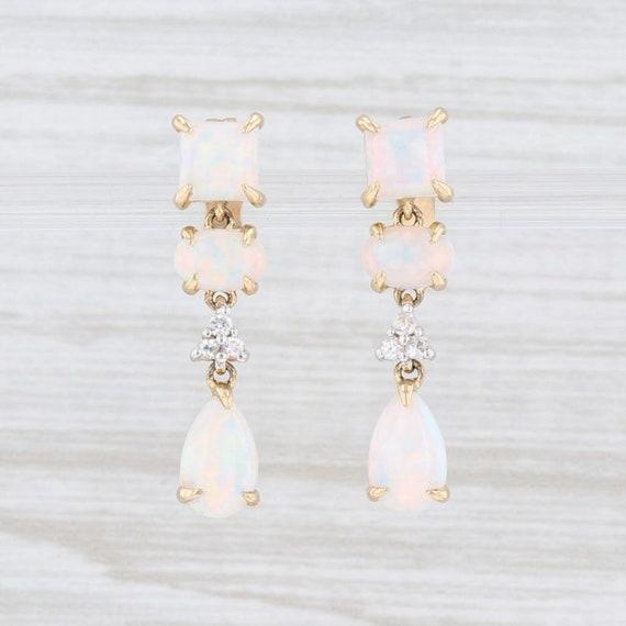 Opal Earrings, Dangle Earrings, Yellow Gold Earrin