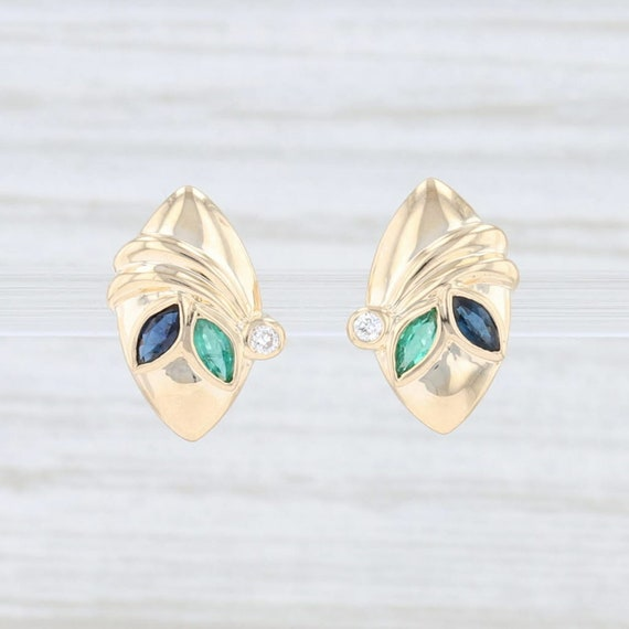 Sapphire & Emerald Earrings, Yellow Gold Earrings,