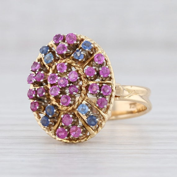 Blue & Pink Sapphire Ring, Sapphire Cluster Ring,