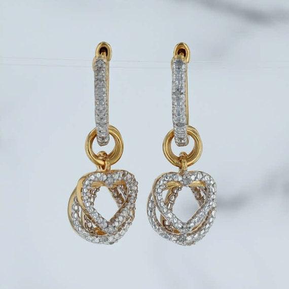 Diamond Hoop Earrings, Diamond Charm Earrings, Ste
