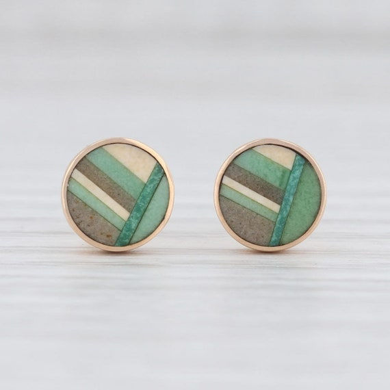 Stone Stud Earrings, Mosaic Stud Earrings, Yellow