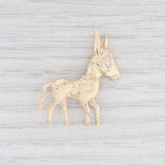 Diamond Donkey Brooch 14k Yellow Gold Animal Pin