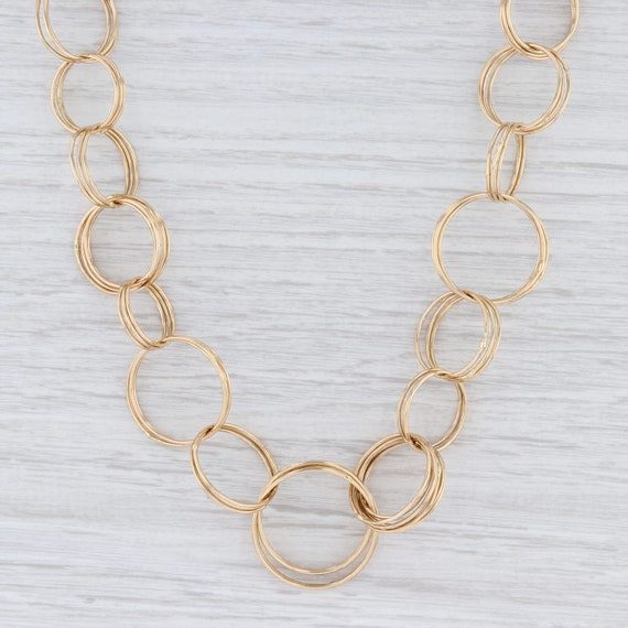 Circle Link Necklace, Statement Necklace, Yellow G