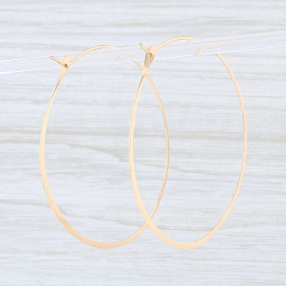 Flat Hoop Earrings, Statement Earrings, Yellow Go… - image 3
