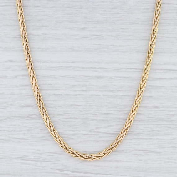 "Wheat Chain Necklace, Yellow Gold Necklace, 24"" Ch"