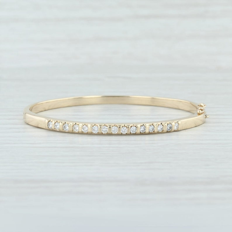 d031f504e29ec Diamond Bangle Bracelet, Vintage Diamond Bracelet, Gold Diamond Bangle  Bracelet