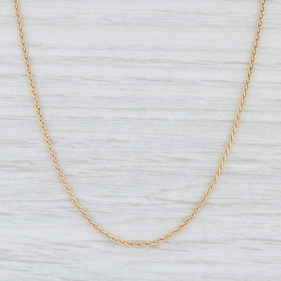 """Wheat Chain Necklace, Yellow Gold Necklace, 19.5"""""""