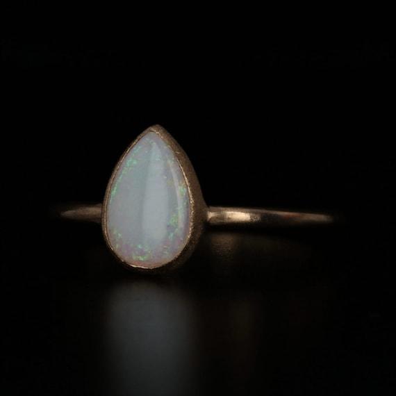 Opal Teardrop Ring, 18k Gold Ring, Yellow Gold Rin