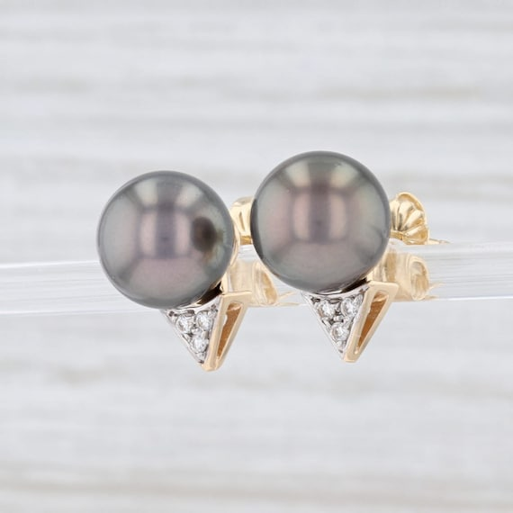 Cultured Black Pearl Earrings, Pearl and Diamond … - image 2
