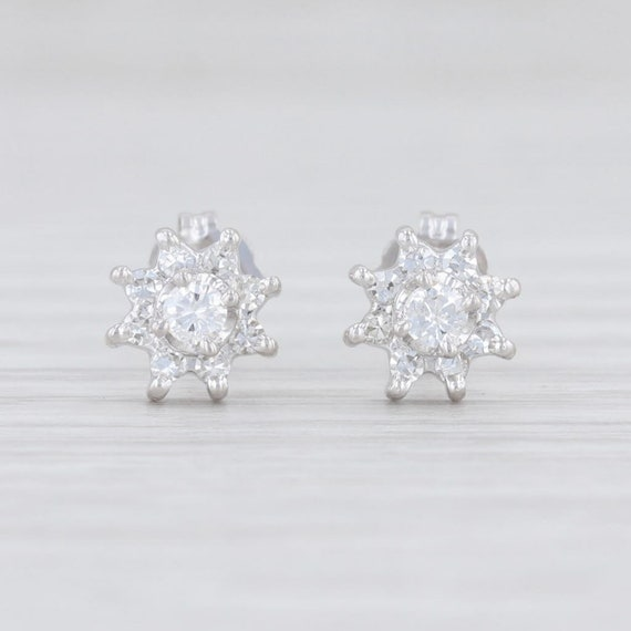 Diamond Flower Studs, Halo Stud Earrings, White Go