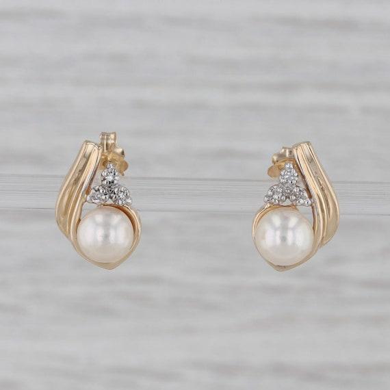 Cultured Pearl Diamond Teardrop Stud Earrings 14k