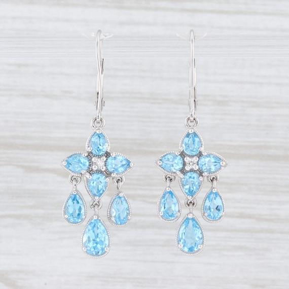 Blue Topaz Earrings, Flower Earrings, White Gold E