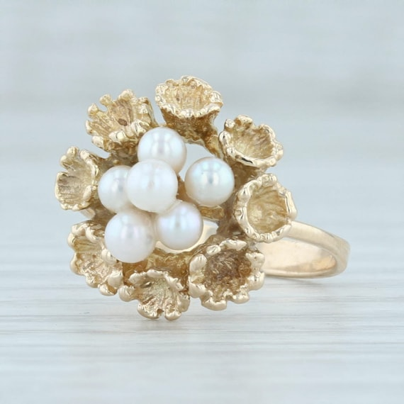 Pearl Cluster Ring, Pearl Flower Ring, Yellow Gold