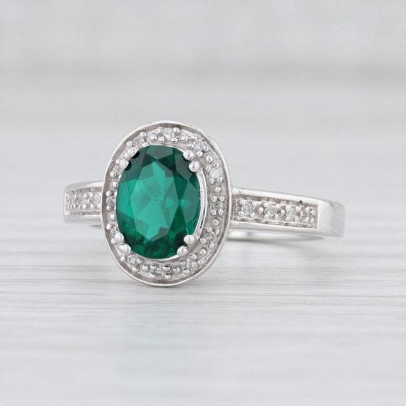 Emerald Ring, Diamond Halo Ring, White Gold Ring,