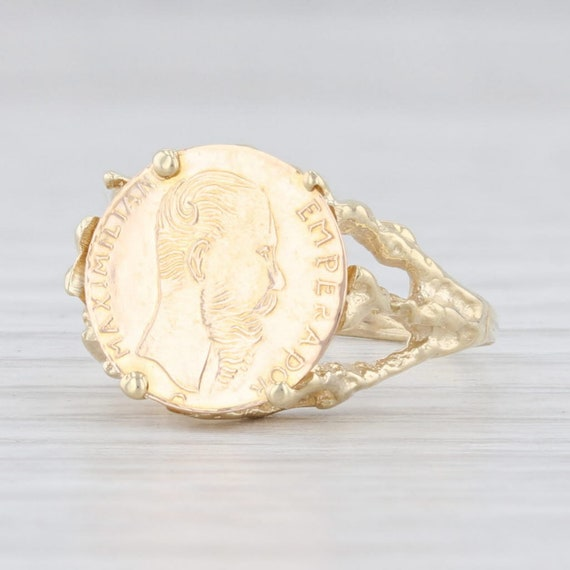 Gold Coin Ring, 1865 Maximilian Coin Ring, Mexican