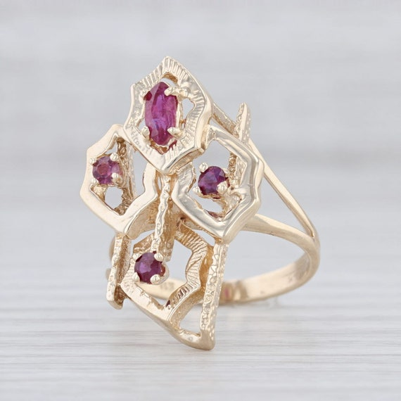 Abstract Ring, Ruby Cocktail Ring, Yellow Gold Rin