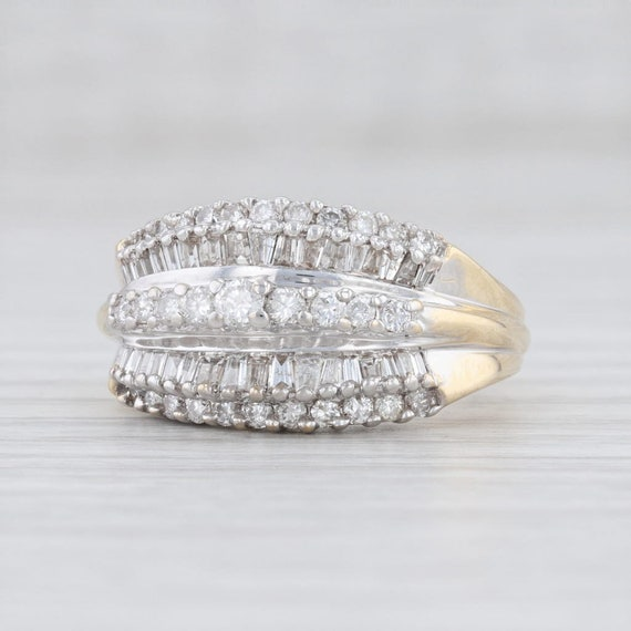 Diamond Cluster Ring, Yellow Gold Ring, Size 6 Rin