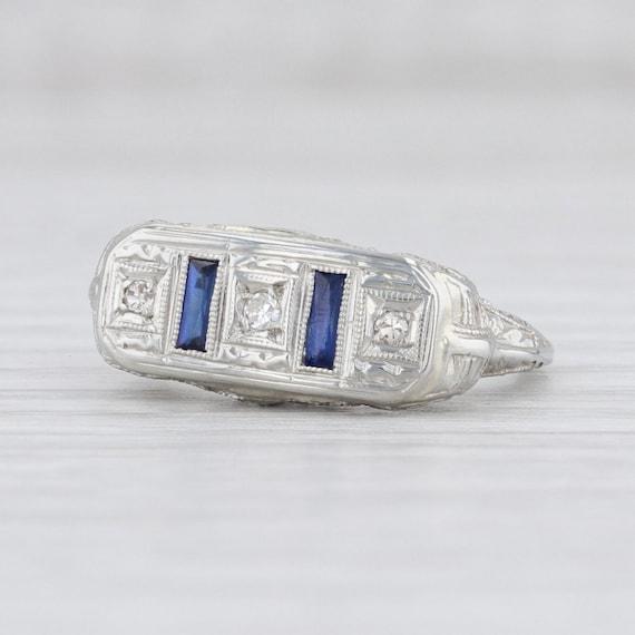 Art Deco Ring, Blue Sapphire Ring, Sapphire & Diam