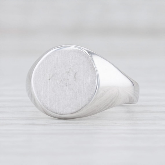 Engravable Signet Ring, White Gold Signet Ring, Si