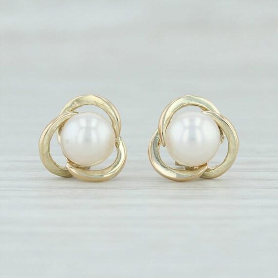 Pearl Knot Earrings, Cultured Pearl Knot Earrings,