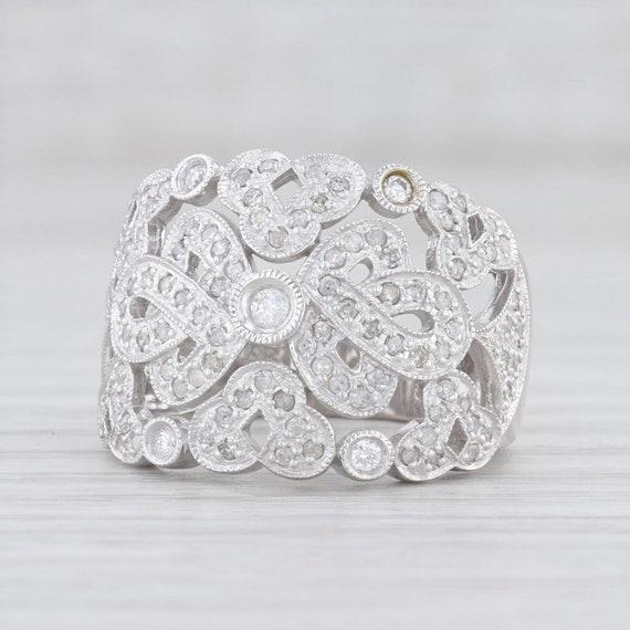 Diamond Cocktail Ring, White Gold Ring, Size 7.25