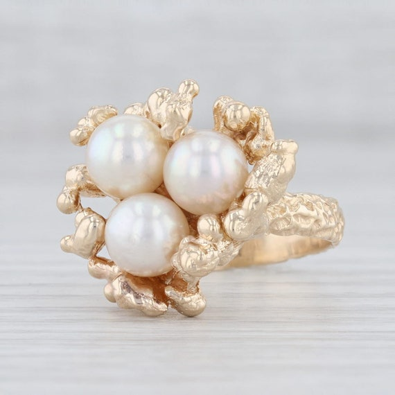 Pearl Cluster Ring, Yellow Gold Ring, Size 6.25 Ri
