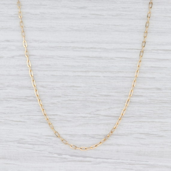 Paperclip Chain Necklace, Yellow Gold Chain, Cable